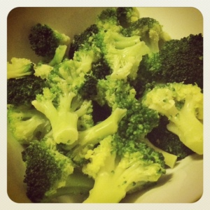 step 1: steamed broccoli