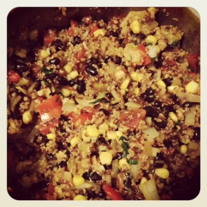 quinoa + a whole lot of other yumminess waiting to get stuffed!