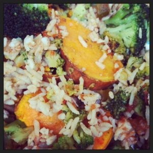 sweet potato & broccoli + brown rice & salsa